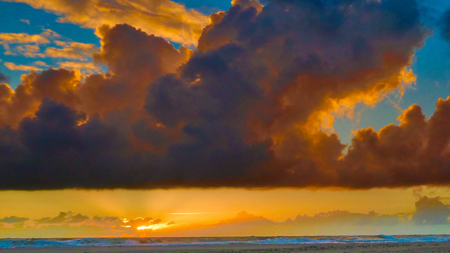 Sunset and stormy clouds