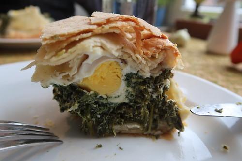 Ei in meiner Torta pasqualina (= Ligurische Ostertorte) gefunden