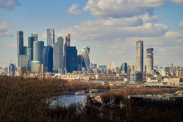 Moscow city, view from the Vorobyovy Gory observation deck