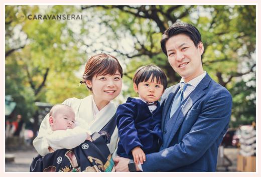 初宮参りの日 2021年春 家族の写真