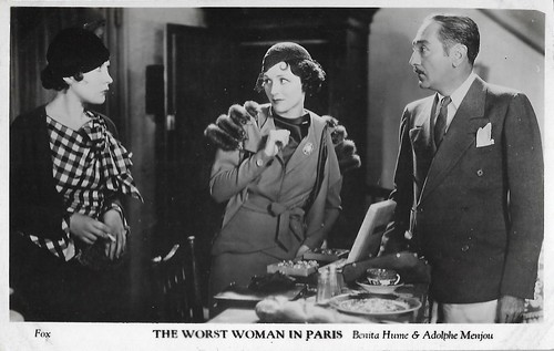 Benita Hume and Adolphe Menjou in The Worst Woman in Paris?