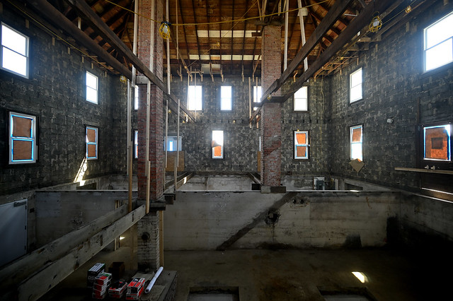 Gutted farmhouse interior