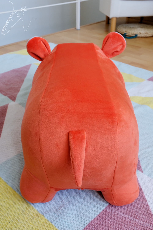 szycie, krawiectwo, dla dzieci, hipopotam, zabawka, skoczek, sewing, handmade, DIY, for kids, orange hippo, toy, Burda 6560
