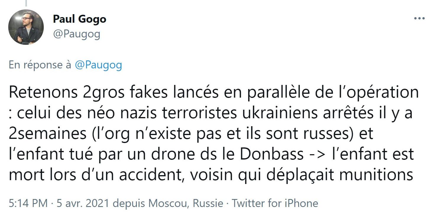 Excuse fournie par Mr Gogo au crime de guerre de l'armée ukrainienne
