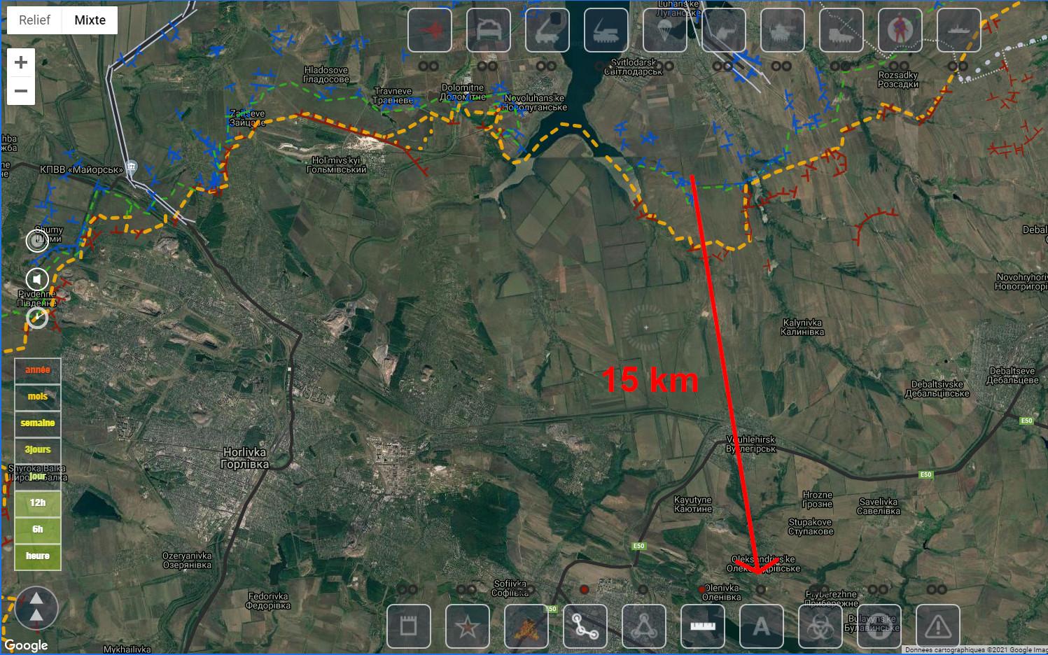 Vraie carte montrant la distance entre la ligne de front et Alexandrovskoye
