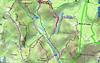 Carte IGN de la basse vallée du Cavu avec les traces des entretiens PR4 et PR4/PR5 du 03/04/2021 et l'emplacement des marches au pont de Marionu