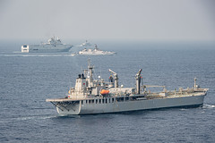 BAY OF BENGAL (April 5, 2021) Ships operate in the Bay of Bengal during exercise La Perouse 2021. La Perouse consists of naval assets from Australia, France, India, Japan and the United States. La Perouse is an exercise conducted during the annual French Navy midshipman deployment called Mission Jeanne d'Arc. The exercise is designed to conduct training, enhance cooperation in maritime surveillance, maritime interdiction operations, and air operations. As the U.S. Navy's largest forward-deployed fleet, 7th Fleet employs 50-70 ships and submarines across the Western Pacific and Indian oceans. U.S. 7th Fleet routinely operates and interacts with 35 maritime nations while conducting missions to preserve and protect a free and open Indo-Pacific region. (Photo courtesy of French Navy)