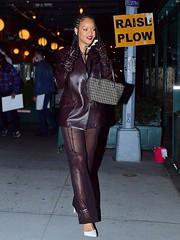 Rihanna Brown Leather Blazer