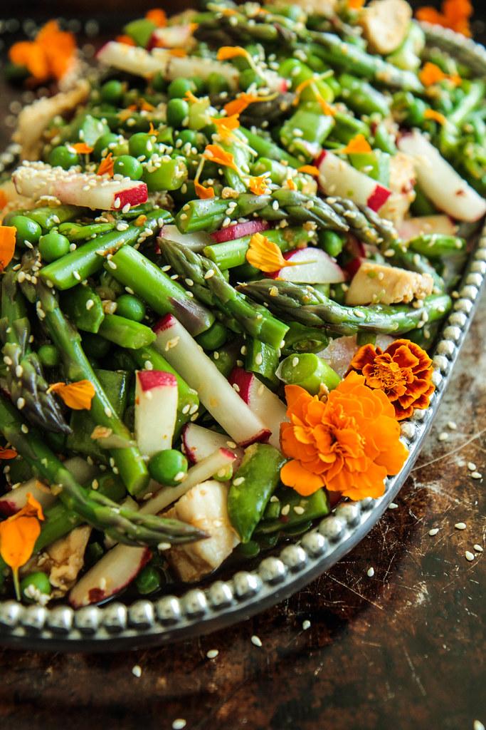 来自Heatherchristo.com的鸡肉芝麻春天蔬菜沙拉