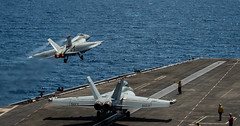 An F/A-18E Super Hornet assigned to Strike Fighter Squadron (VFA) 87 launches from USS Theodore Roosevelt (CVN 71) during flight operations in the South China Sea, April 6. (U.S. Navy/MC3 Dartañon D. De La Garza)
