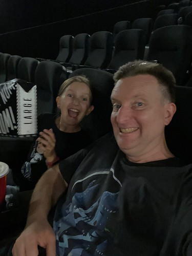 huff and Dad at the movies