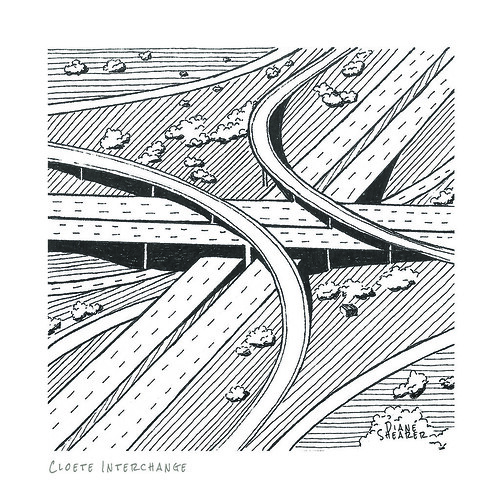 south africa roads durban black white landscape view drawing illustration