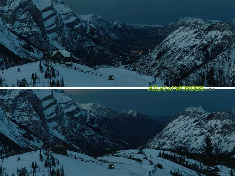 The valley with and without CGI effects