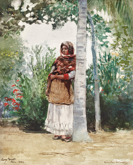 Under a Palm Tree (1886) by Winslow Homer. Original from The National Gallery of Art. Digitally enhanced by rawpixel.