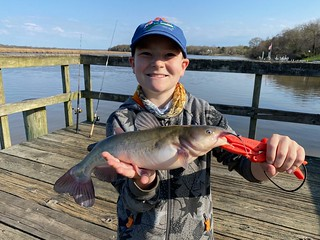 Photo of a boy holding a channel catfish