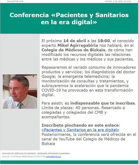 Pacientes y sanitarios en la era digital, conferencia ante el Colegio de Médicos de Bizkaia