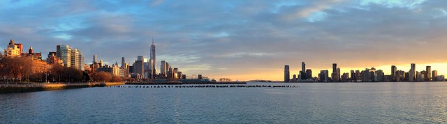 Sunset cityscapes (panoramic) - New York City, Jersey City