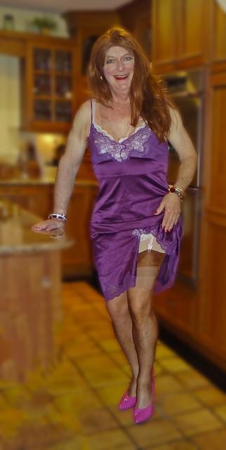 Purple slip with stockings