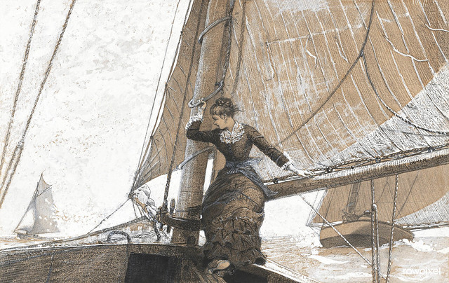 Yachting Girl (1880) by Winslow Homer. Original from The National Gallery of Art. Digitally enhanced by rawpixel.