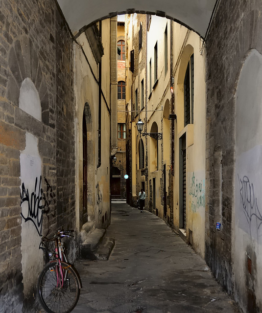 Narrow residential street, historic city centre, Florence.