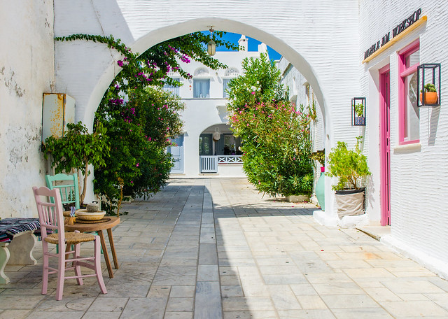 a tranquil cycladic alley
