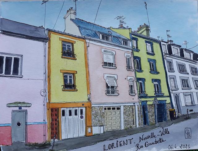 Lorient, quartier de Nouvelle-Ville, rue Gambetta Un mélange de couleurs pastel et de coloris flashy