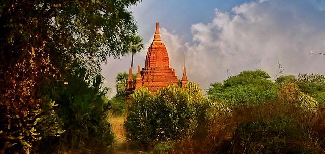 MYANMAR , Burma - Old-Bagan, mit der Pferdekutsche durch die ländlichen Vororte, zu den historischen Stätten, MYANMAR, Burma - Old-Bagan, by horse-drawn carriage through the rural suburbs to the historic sites, 78272/13550