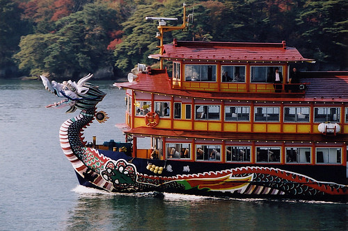 fantastical dragon ferry going back and forth from Sendai to Matsushima, Japan