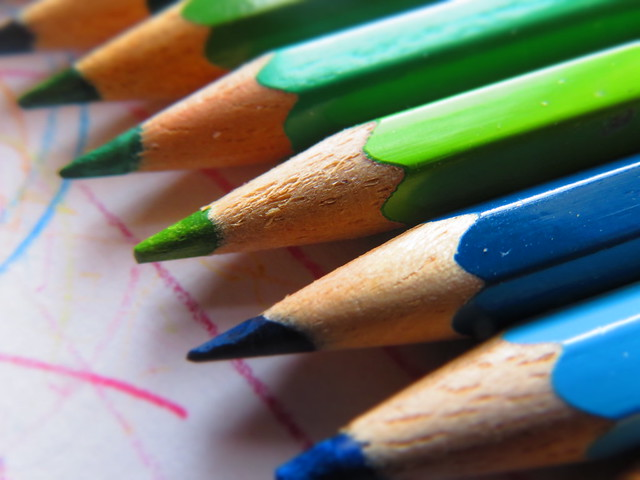 Buntstifte - Variationen - Blau & Grün