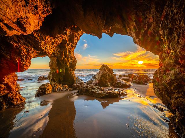 El Matador State Beach Sea Cave Fuji GFX100 Sunset Landscape Seascape Ocean Art! Red Orange Yellow Clouds 45EPIC Elliot McGucken Fine Art Landscape Nature Photography! Master Medium Format Fine Art Photographer! Fujifilm GFX 100!
