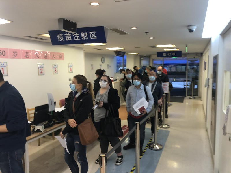 Foreigners lining up for the COVID vaccination in Shanghai