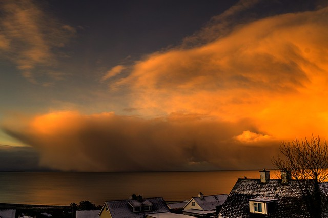 A big cloud over the Irish sea.
