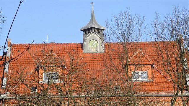 1903/04 Berlin Dachreiter mit Uhr an neogotischer Gemeindeschule Rixdorf von Weigand Stuttgarter Straße 35 in 12059 Neukölln