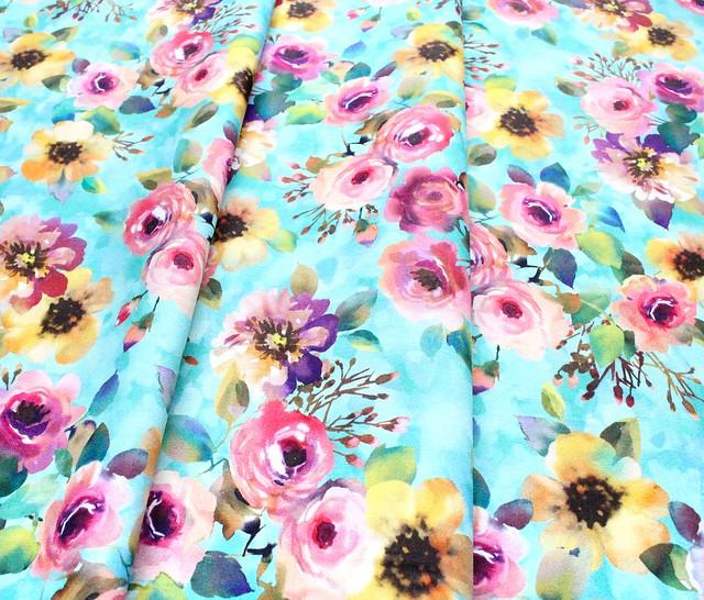 Michael Miller Fabrics Floral Fancy DCX9693-AQUA Delicate Breeze Aqua