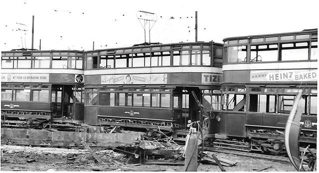 Leeds scrap trams @ Lowfields Rd.