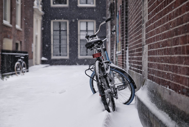 Snowy student bicycle during Lock-down winter days in Amsterdam