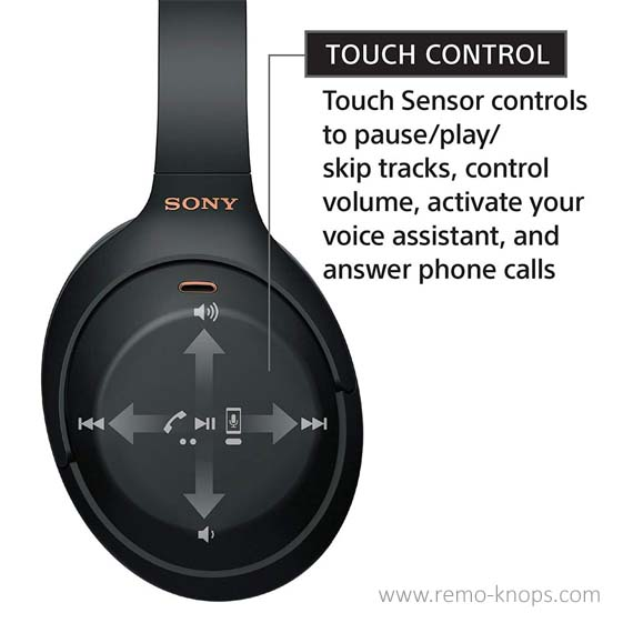 Sony WH-1000XM3 Bluetooth Headphones with Noise Cancelling - Touch Controls