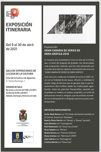 Cartel de la exposición de obra gráfica en la Sala de Arte Agüimes