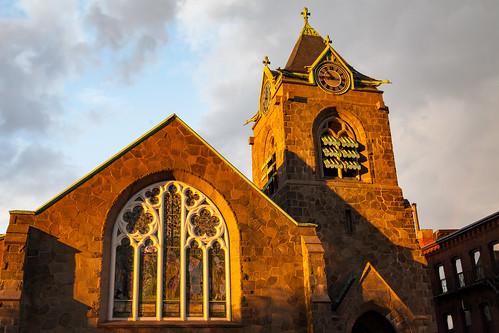 architecture church sunset warm serene