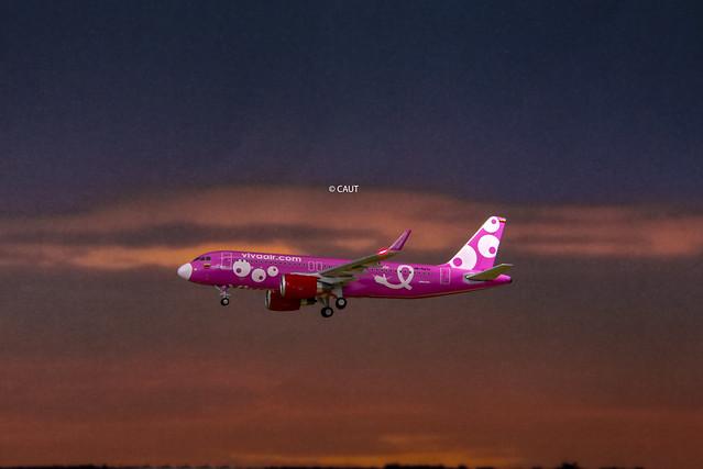 Flight VH8138 - Viva Air Colombia A320 (HK-5273) 'Breast Cancer Prevention' livery GJ ©