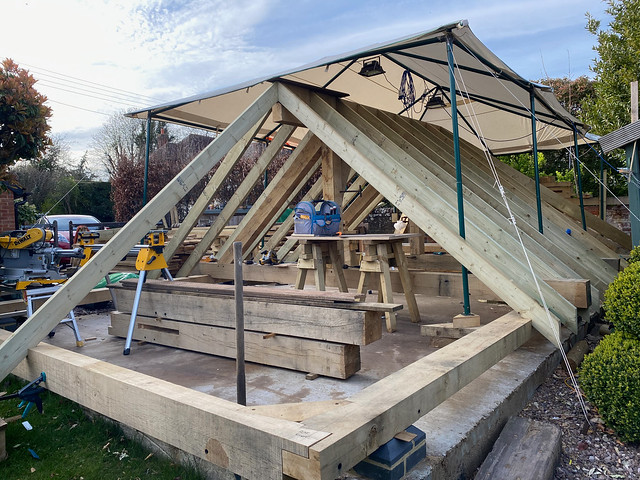 Common rafters in place - rear