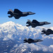 Four F-35A Lightning IIs, assigned to the 388th Fighter Wing at Hill Air Force Base in Utah, fly in formation over Denali National Park, Alaska, Aug. 17, 2020. The 388th FW participated in RED FLAG-Alaska 20-3 during which fourth and fifth generation fighter aircraft trained side-by-side in the Joint Pacific Alaska Range Complex, the Department of Defense's largest instrumented training range. (U.S. Air Force photo by Tech. Sgt. Jerilyn Quintanilla)