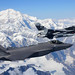 An F-35A Lightning II, assigned to the 388th Fighter Wing at Hill Air Force Base in Utah, and an F-16 Fighting Falcon, assigned to the 18th Aggressor Squadron at Eielson Air Force Base in Alaska, fly over Denali National Park, Alaska, Aug. 17, 2020. The 388th FW joined the 354th Fighter Wing for RED FLAG-Alaska 20-3, the Pacific Air Forces' premier large force exercise. (U.S. Air Force photo by Tech. Sgt. Jerilyn Quintanilla)