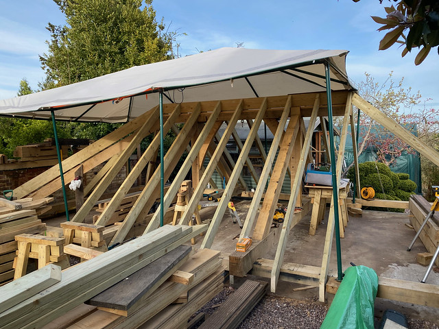 Common rafters in place - front