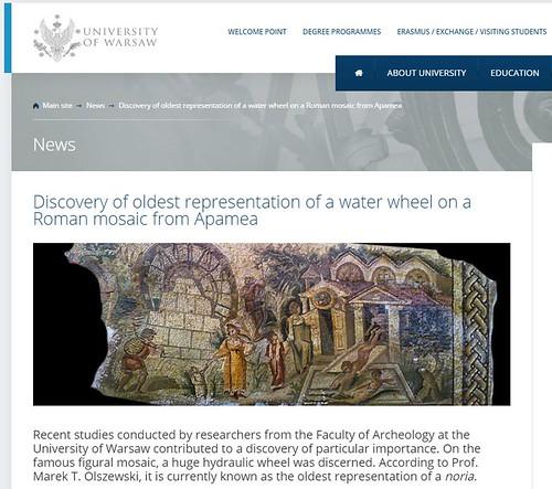 "ROMA ARCHEOLOGIA e RESTAURO ARCHITETTURA 2021. Apamea, Syria – ""Oldest representation of Roman hydraulic wheel""; in: Prof. K. Gleason, Gardens of the Roman Empire / Fb (11/2020). S.v., ARCHEO n. 412 (06/2019): 8-10 & Prof. M. T. Olszewski (13/01/2021)."