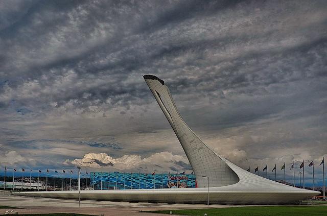 Sky over the Olympic torch. Sochi. Небо над Олимпийским факелом. Сочи.