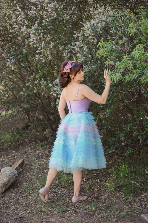 Unique Vintage Pastel Ombre Tulle Cupcake Swing Dress