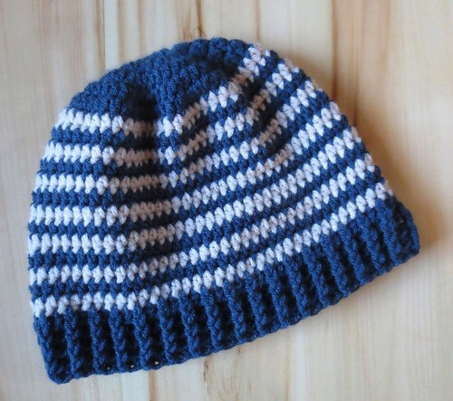 Blue Striped Ribbed Hat