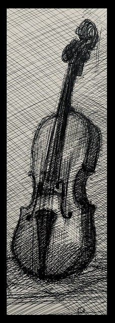 Ballpoint Pin sketch of Violin by jmsw, just for Fun. Only on this site.
