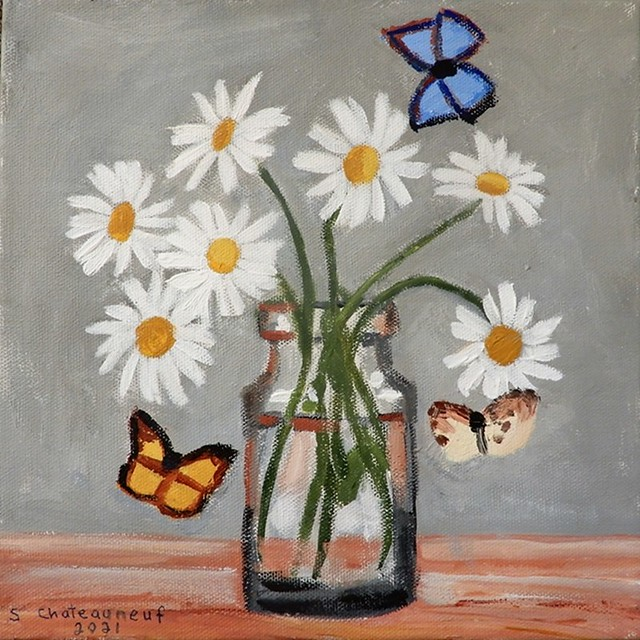Daisies & Butterflies - Acrylic Painting by STEVEN CHATEAUNEUF (2021)